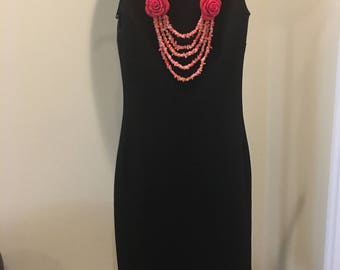 Natural Pink Coral and Red Rose Necklace by Dobka