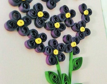 Violet Flower Quilled Greeting Card