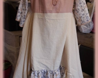 Shabby chic dress, linen antique lace Bohemian, romantic and full, full of details, monograms