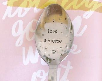 """Gift for a friend, MOM, Grandma """"I love avocado!"""" - engraved spoon"""