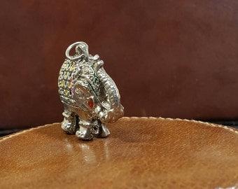 Vintage Elephant Locket, Long Necklace Silver Elephant, Red Eyes, Circus Animal Locket, Antique Elephant Jewelry, Pill Box Necklace