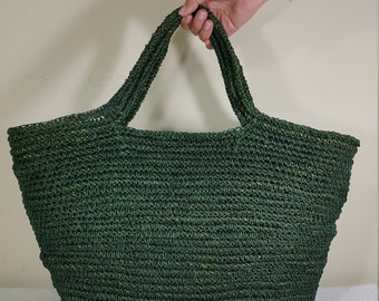 Handmade Bali Water Hyacinth Green Shopping Handbag Beach bag (Green)