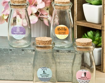 48 Personalized Vintage Glass milk bottle with round cork top - Set of 48