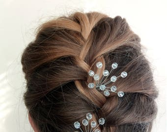 Set hairpins Crystals hair pins Hairpin set of 2 Wedding hair pins Bridal Hair Accessories Wedding hair clip Gold Hair pins Bridal  pins