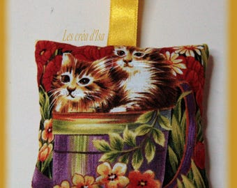 cushion filled with organic Lavender buds cats pattern
