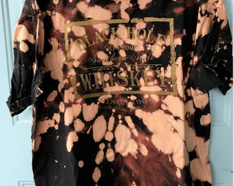 Bleached and Ripped Distressed Black Hole Whiskey Shirt