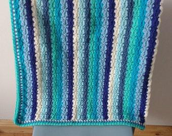 Blue Striped Crochet Blanket