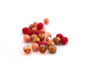 Mix of 25 pink and Brown 6mm faceted Bohemian beads