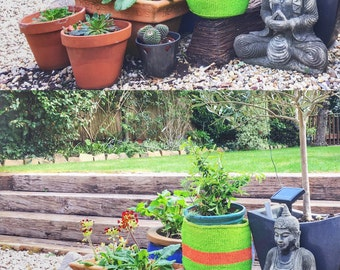 Lime Green/orange handwoven sisal storage basket