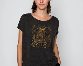 T-shirt women grey Golden bear pattern
