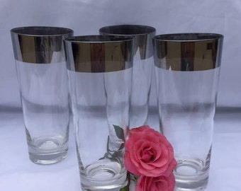 Vintage Dorothy Thorpe Silver Band Tumblers Tom Collins MCM  - set of 4