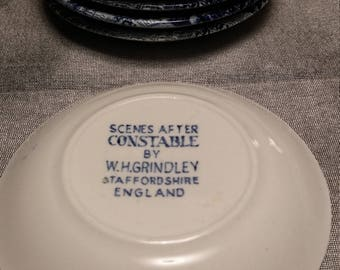 Circa 1930s W H Grindley Scene After Constable Butter Plates - Staffordshire England