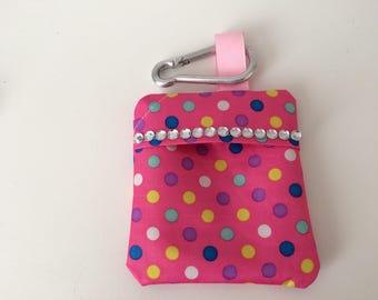 Dotty Pink Sparkly/Bling Dog Poo Bag Holder