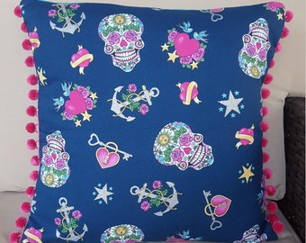 Day of the Dead Nautical Tattoos luxury pillow cover with pom-pom trim