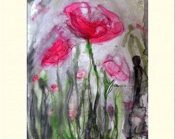 "Poppies, Watercolors and Ink, Print 12"" x 16"" inc. Mount"