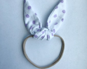Bunny Bow in Lilac Polka Dot