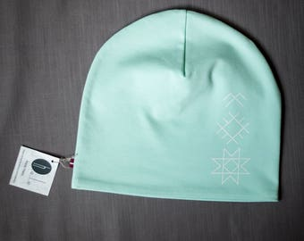 Women beanie hat Mint slouchy jersey beanie Hat for ladies Adult scull cap Hat with cotton lining Slouchy beanie hat for her Women's beanie