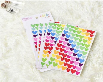 Set of 6 sheets heart stickers. Stickers planner