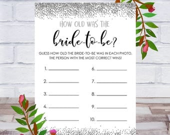 How Old Was The Bride To Be, Bridal Shower Game, Printable, Bachelorette Party, Cards, Size 5x7, Silver Confetti, Instant DIGITAL DOWNLOAD