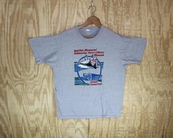 Vintage 1980's Nautilus Memorial Submarine Force Museum Groton Connecticut 50/50 T-Shirt  T Shirt Screen Stars S / M