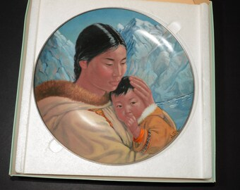 People of the Midnight Sun series, Nori Peter artist, collectible plate, Motherhood, Kaiser Porcelain, native people, 1980