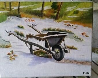 Wheelbarrow in the snow