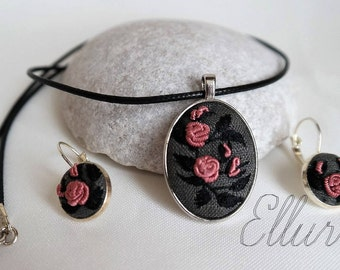Floral embroidery jewelry set Eco pendant Hand Embroidered pendant earring Pink rose Fabric necklace Nature lover gift mom Ukrainian jewelry