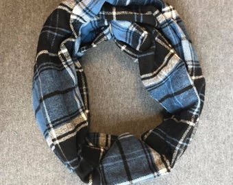 Black and Blue Plaid Flannel Infinity Scarf
