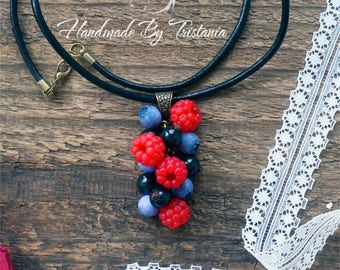 Berries pendant jewelry of polymer clay raspberries bracelet blueberries pendent idea gifts necklace with berries handmade polymer clay