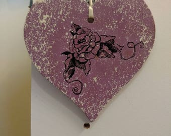 hand painted heart shaped cut out all handmade.