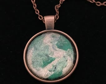 Green, Gold, and Copper Glass Pendant Necklace 009