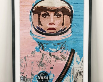 Astronaut Space Girl Print (Limited Edition of 100) - A3 Vintage NASA Print Woman Colour Poster Street Art Decor Pop Art Graffiti Wall Gift
