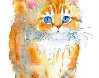 Ginger Persian Kitten Original Watercolor Painting