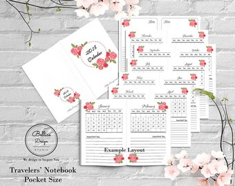 TN Pocket Inserts, Month on One Page, Foxy Fix No 2, Floral Planner 2018, Dated Pocket Planner, 2018 Monthly Calendar, Field Notes Inserts