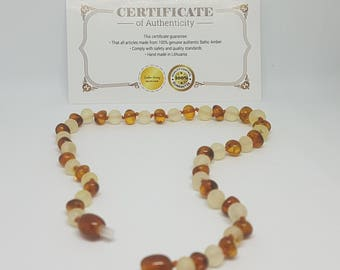 "NATURAL Baltic Baby TEETHING Amber toddler necklace, Raw Lemon-and-Polished Caramel ~32 cm /12.7"" and ~37 cm /14.5"", perfect gift"
