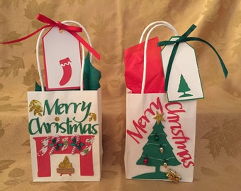 Christmas Gift Bags,Holiday Gift Bags, Gift Bags, Gift Card Holders, Gift Card Bags, Free Shipping, 4 Bag Minimum