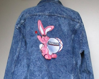 FREE SHIPPING 90's Vintage Jean Jacket/ Energizer Bunny Embroidered Patch/ Casual Jacket/ Jean Jacket/ Spring Or Fall/ Great Condition