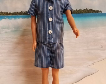 Ken blue stripe shorts and shirt,  Barbie clothes, Handmade, Barbie Clothing, Shorts, Shirt, Blue