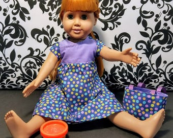 18 Inch Doll Clothes- Purple Play Dress and Play-doh