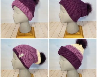 Hand Knit Slouch Hat w/Faux Fur pom-pom- Two Hats in One