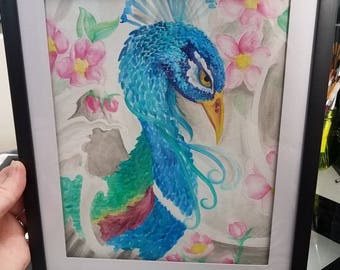Watercolor peacock tattoo style framed