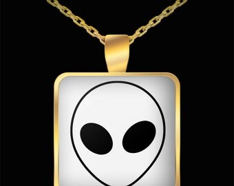 Aliens Necklace - UFO Roswell - Alien Jewellery - Alien Jewelry - Alien Face Black - Square Gold Plated Necklace With Pendant