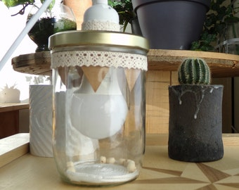 Jar lamp, wood, Pearl, handmade, recycled