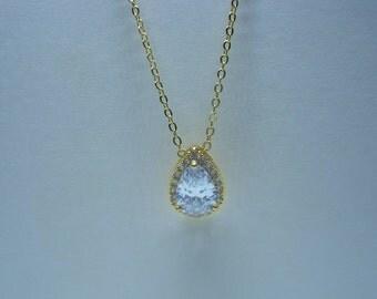 Gold Teardrop Necklace Cubic Zirconia Pendant Crystal Jewelry