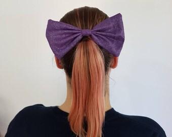 Medium hair Bow Clip - Purple Glitter