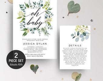 INSTANT DOWNLOAD Eucalyptus Greenery Oh Baby Shower Invitation Printable Template - BONUS Detail Card