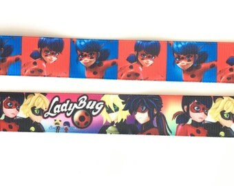 Ladybug and Cat Noir 1 inch 25mm Grosgrain Ribbon for Hair Bows Scrapbooking Crafts Party Cake Birthday Decoration