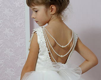 Ivory Tulle Flower Girl Dress, Tutu Dress, Sleeveless Dress, Beaded Dress, Wedding Party Dress, Junior Bridesmaids, Backless Dress