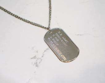 Military Necklace - Soldier Necklace - Dog Tag - Army Necklace - Charm Necklace - Silver Necklace