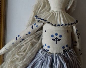 Fabric doll flower milk - Blandine - doll cloth/retro/vintage/unique/collection/ragdoll/fabricdoll/heirloom